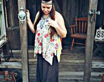 Boho top, festival tunic, gypsy tunic, boho chic top, floral top, boho fashion, festival top, hippie top, bohemian clothing, gypsy floral
