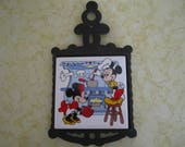 Mickey and Minnie Mouse Tile Cast Iron Trivet Disney Kitchen Wall Art