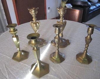 Brass Candlesticks Assortment of Three Matching Pairs Six Candle Holders Wedding Decor Vintage Bohemian Decor