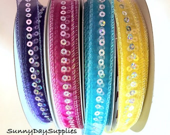 Sequined Ribbon, Sequins in Purple, Pink, Blue, Yellow, Nylon sheer, 2 YARDS, 5/8 in wide, Corages,Proms, Costumes, Girl Hair Bows, Clothes