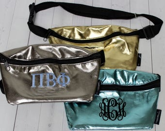 Monogrammed Fanny Pack - Metallic Fanny Pack - Waist Purse - Concert Pack - Spring Break - Gold Fanny Pack - Sorority Bag - Cute Fanny Pack