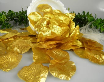 Shiny Gold Rose Petals - Artificial Petals - BRIGHT Shiny Gold Metallic - Bridal Shower Wedding Decoration - Flower Basket 200 Petals