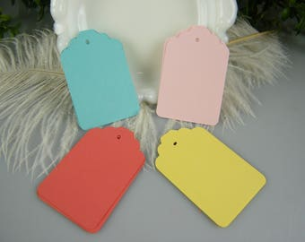 100 Gift Tags / assorted colors / Medium Size Cardstock Price tags / Hang Tags / Blank -DIY Wedding Tags