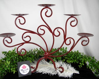 Burgundy Candelabra Wedding Decoration - Burgundy Red - Pillar Candle Holder - Refinished Metal - Rustic Farmhouse Decor - Table Centerpiece