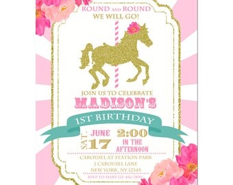 Girl's Carousel Birthday Invitation Printable or Printed with FREE SHIPPING - Pink and Gold Carousel Collection