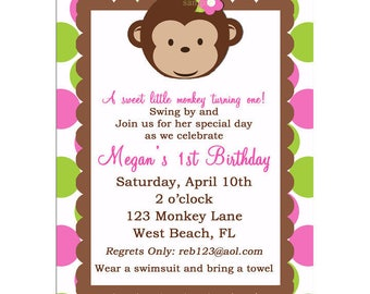 Monkey Girl Birthday Invitation Printable or Printed with FREE SHIPPING- Monkey Birthday or Baby Shower Invite