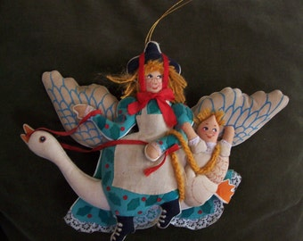 Mother Goose Christmas decoration, cloth nursery decoration, Mother Goose nursery rhymes