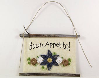Buon Appetito, Paper Quilled Italian Kitchen Sign, 3D Paper Quilled Banner, Blue White Brown Decor, Italy Gift, Have a Good Meal Kitchen Art