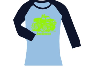 Monster Truck Birthday Shirt -  cropped/long sleeves fitted raglan shirt - any name -  pick your colors!