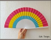 Pansexual Pride Flag Colors Hand Painted by Kate Dengra Spain Eventail Abanico Facher Wooden Hand Fan Flamenco Spanish