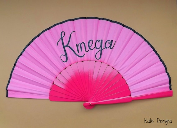 Hot Pink Supersize Pericon Hand Fan Folding Wooden Handheld Red with any Name Personalized onto it. Choose Fan Color Font and Writing