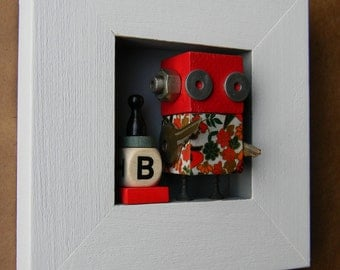 Robot Assemblage - B is for - Wall Art - Robot Art by Jen Hardwick