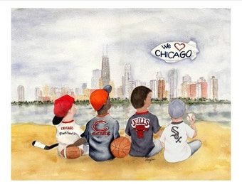 Chicago Print - 8x10/5x7  -  Choose either Cubs or Sox