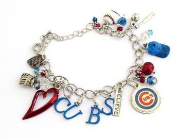 Chicago Cubs Baseball Bracelet -I HEART the Cubs!