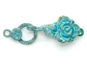Rose Jewelry Clasp with Blue Patina Handmade Bronze