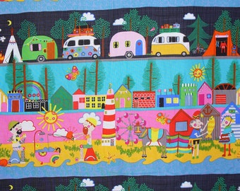 Alexander Henry Happy Campers, Whimsical Camping, Striped Style, Retro Campers, Camping Scenes, By the Yard, Cotton Fabric