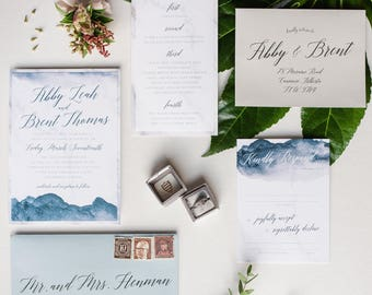 Watercolor Blue Mountain Wedding Invite