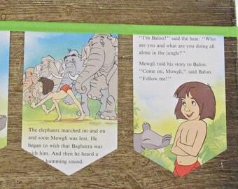 The Jungle Book Bunting. Banner Children Book Garland Nursery. Decor Photography Prop Green. Domum Vindemia Mowgli Shere Khan Gift Disney