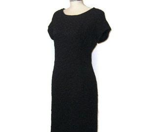 Cap Sleeve Dress Textured Black Dress 1960s Vintage LBD Short Black Dress 60s Cocktail Dress Black Wiggle Dress Short Wiggle Dress