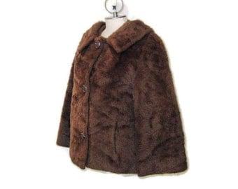 60s Faux Fur Coat 3/4 Sleeve Jacket Short Jacket Faux Fur Jacket 1960s Dress Jacket Brown Faux Fur Coat Brown Jacket Brown Fall Jacket