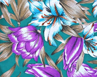 Silky Green Blue Purple Floral Design Fabric, 100 Percent Polyester, 1 yard cut