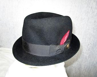 50s 7 3/8 Stratton Felt Stingy Brim Trilby HAT Black