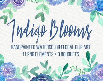Indigo Blooms Abstract Watercolor Flowers Floral Clip Art Digital Handpainted Roses Blooms PNG Wedding Invitation Small Commercial Use OK