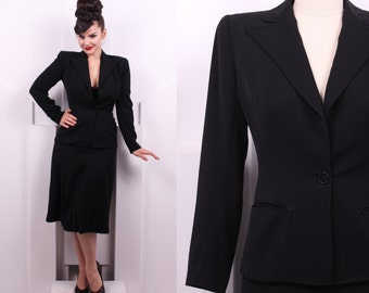 Vintage 1940's Frederick & Nelson Black Suit Set • 40's Film Noir Suit Set • Size S