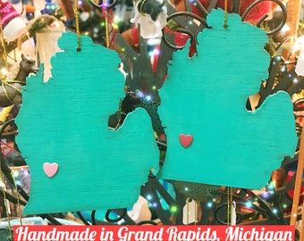 Handmade Grand Rapids Michigan Ornament made in USA 4 inch tall laser cut wood light weight aqua with heart
