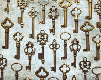 The Wellington Collection - Skeleton Key Charm Assortment in BRONZE- Set of 48 Keys