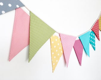 Polka Dot Bunting, Garland, Fabric Banners, Pink, Green, Blue, Yellow, Orange, Red - 3 yards