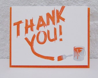 Thank You - letterpress card - graffitti - paint - texture - typography - paintbrush - orange - mural