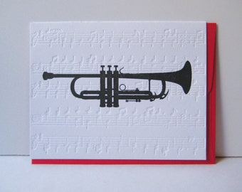 Trumpet - Holidays - Christmas - Rejoice - Joy to the World - Music Notes - Christmas Carols - Christmas Music - letterpress christmas card