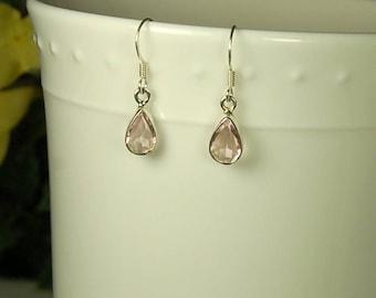 Morganite Earrings, Petal Pink Color, Teardrop Shape, Morganite Dangles, Sterling Silver, Pink Morganite, Natural Morganite