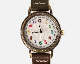 Handstitched Handcraft Wrist Watch with Vegetable Leather Band /// yumyum - Perfect Gift for Birthday, Anniversary