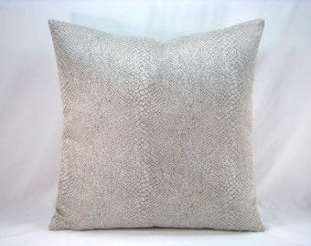 Decorative Accent Silver Grey Metallic Reptile Pillow 18x18 Pillow Cover