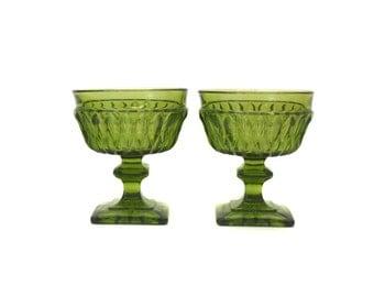 "Vintage Pair of Indiana Glass Co ""Mount Vernon""  Green Sherbet Glasses (E3088)"
