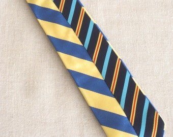 Vintage Silk Tie, Stripped, Stripes, Mens Ties, J Crew, Hand Embroidered, Blue, Yellow, Upcycled, Wil Shepherd, Mans Tie, Neck Wear, Preppy