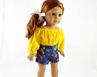 18  inch doll clothes,  Shorts, Peasant Style Crop Top, designed to fit like American Girl® doll clothes, AG doll clothes, Summer clothes