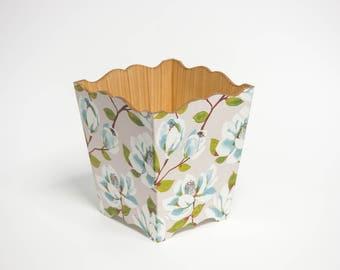 Blue Magnolia Trash / Waste Paper Bin Handmade Wooden