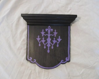 Gothic Chandelier Black & Purple Silhouette Altar Shelf