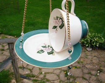 Beautiful Vintage CenturyService Tea cup BIRD FEEDER, Mothers Day,Hanging FEEDER, Planter, Suncatcher, Upcycled, Recycled, Renew, Garden Art