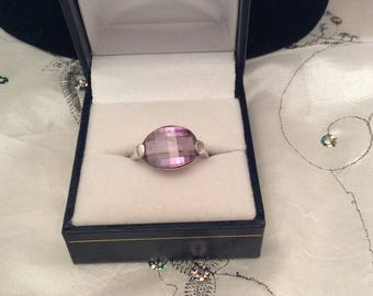 Authentic Vintage Stunning STERLING SILVER 925 AMETHYST Checkerboard Cut Ring, Engagement, Promise, Friendship, Birthday, Free Postage.