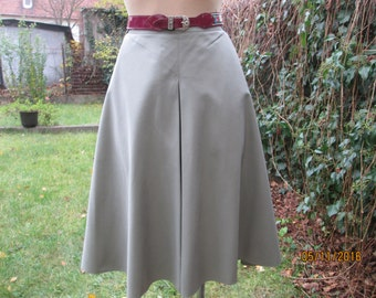 A Line Skirt /  Skirt Vintage /Skirt Khaki / Size EUR42 / 44 / UK14 / 16 / Cotton /  / Poly / Side Pockets / Slit in Front /