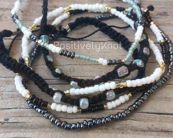 CLEARANCE Black and White Friendship Bracelet Set