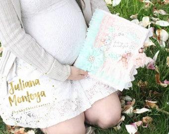 Baby Album, Shabby Chic Album, Handmade BABY Book, Pink and Teal, Bambi Book, Baby Girl Album, Custom Made, Fabric Baby Album, Baby Book