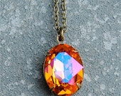 Orange Pink Pendant Necklace Swarovski Crystal Large Oval Necklace Orange Bridesmaid Pink Wedding Gift Bridesmaid Drop Black Tie Gift