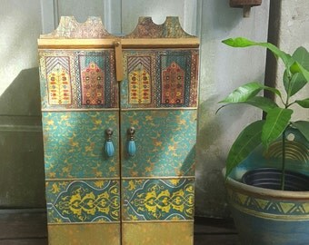 Moroccan inspired Cabinet, jewelry box,keepsake box,  wedding gift, medicine cabinet