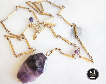 Antique Watch Chain, Gold Chain, Antique Necklace with Amethyst, Two Girls Gems