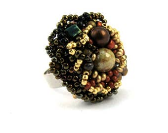 Beaded ring Cocktail ring Beaded jewelry Adjustable ring Statement ring Freeform beadwork Gift for women, Earth colors